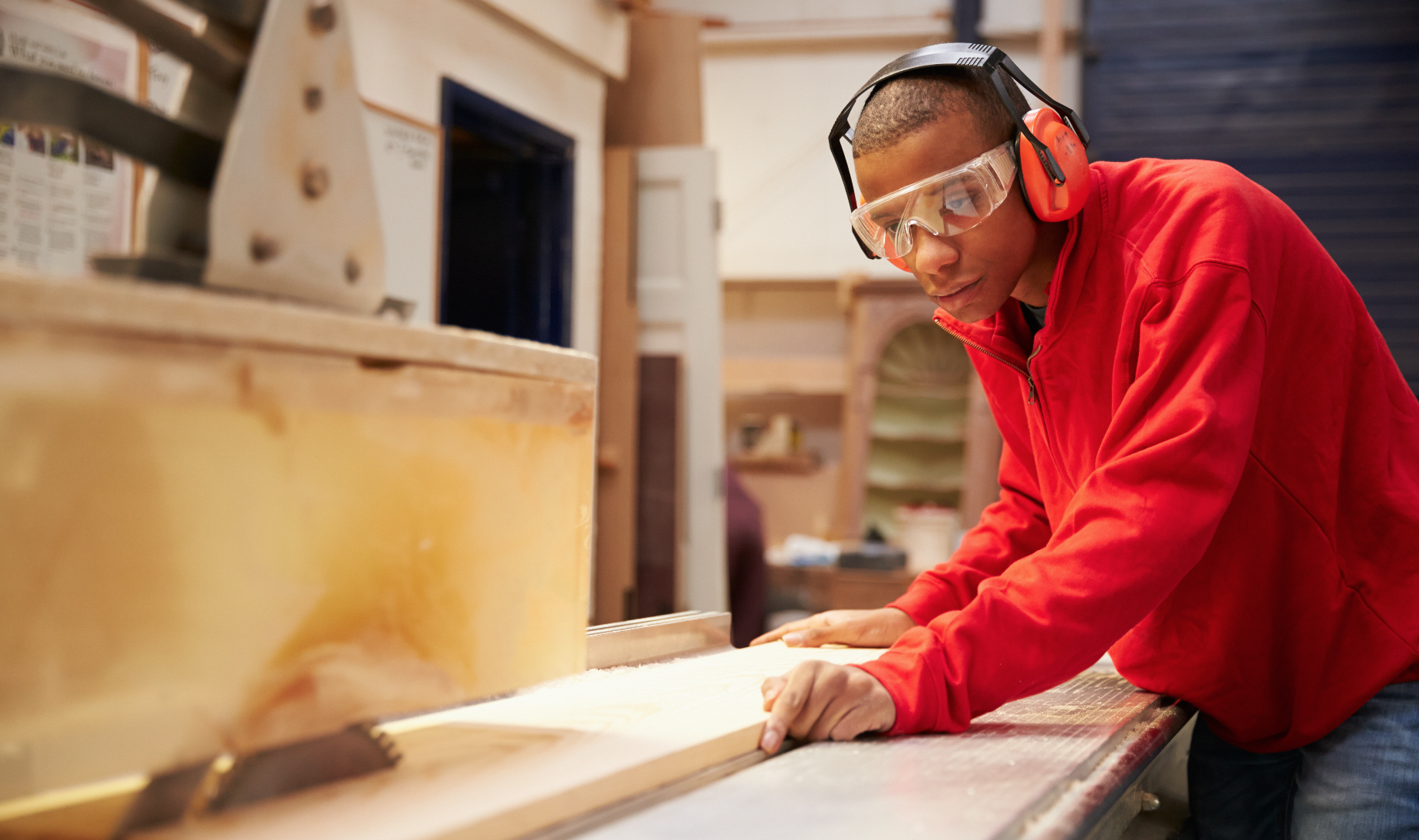 Man working in wood shop